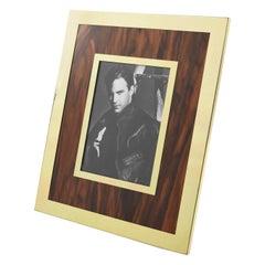 Italian 1970s Aluminum Wood Picture Frame