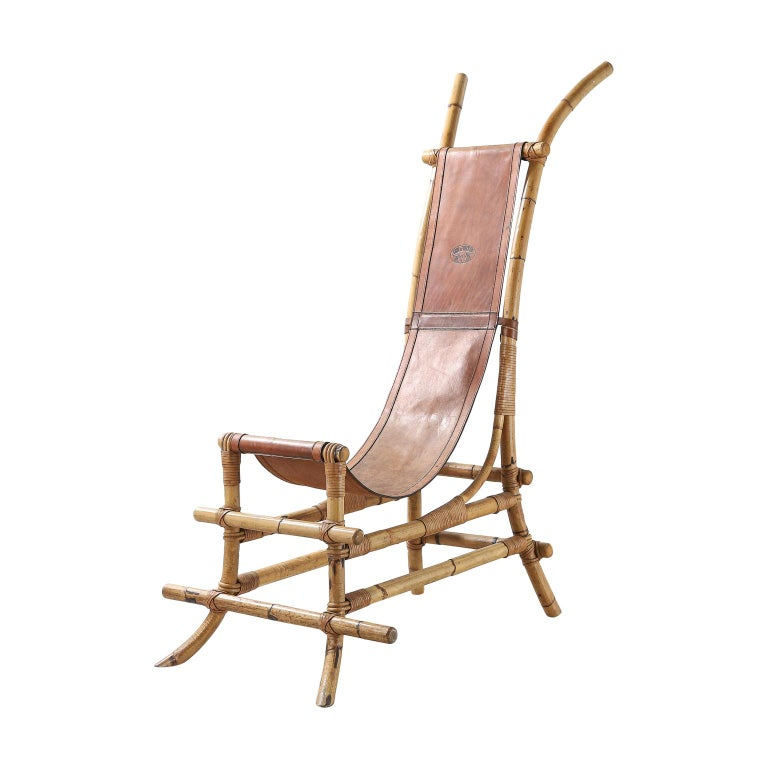 Italian 1970s Bamboo and Leather Sculptural Chair For Sale