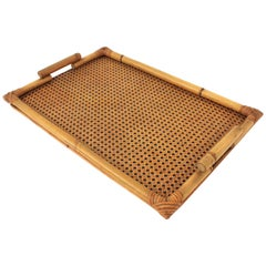 Italian 1970s Bamboo and Wicker Serving Tray in the Style of Gabriella Crespi
