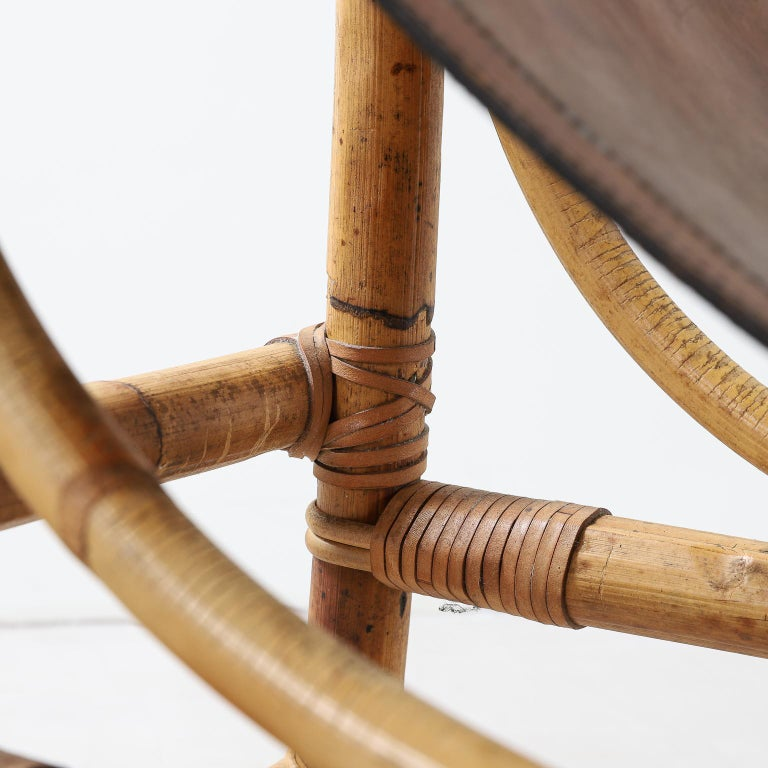 Italian 1970s Bamboo and Leather Sculptural Chair For Sale 9