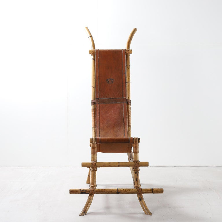 Italian sculptural chair with bamboo frame, leather cover marked 'sem il vaccaro' 1970s.