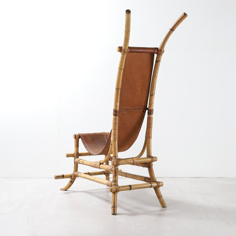 Late 20th Century Italian 1970s Bamboo and Leather Sculptural Chair For Sale