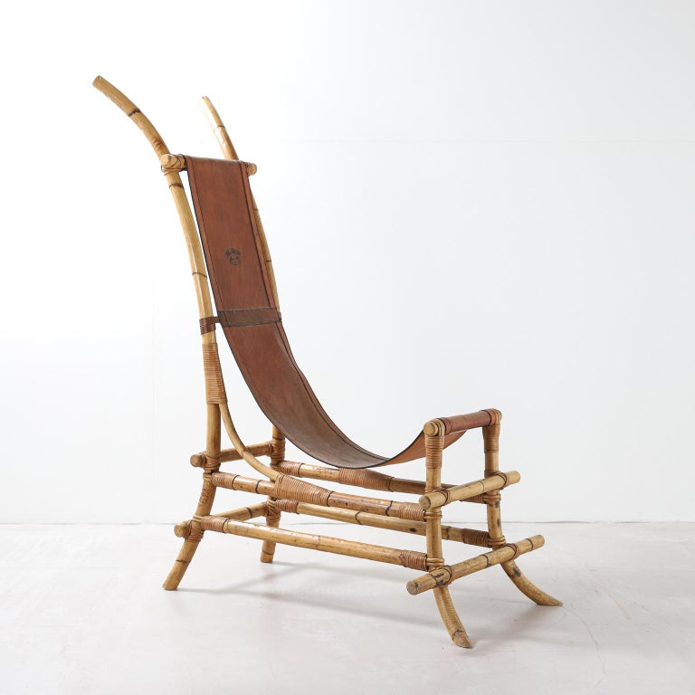Italian 1970s Bamboo and Leather Sculptural Chair For Sale 1