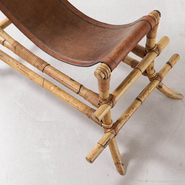 Italian 1970s Bamboo and Leather Sculptural Chair For Sale 5