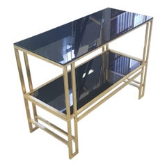 Italian 1970s Brass and Black Glass Shelves Table Consolle
