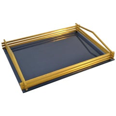 Italian 1970s Brass and Lucite Tray