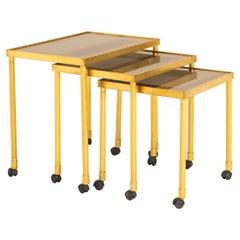 Italian 1970s Brass Nest of Three Tables