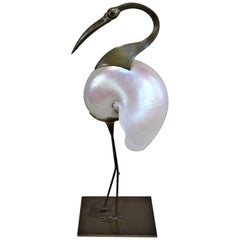 Italian 1970s Bronze and Shell Bird Sculpture