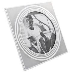Italian 1970s Brushed Aluminum Picture Frame by Umberto Mascagni