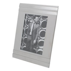 Italian 1970s Brushed Aluminum Picture Frame