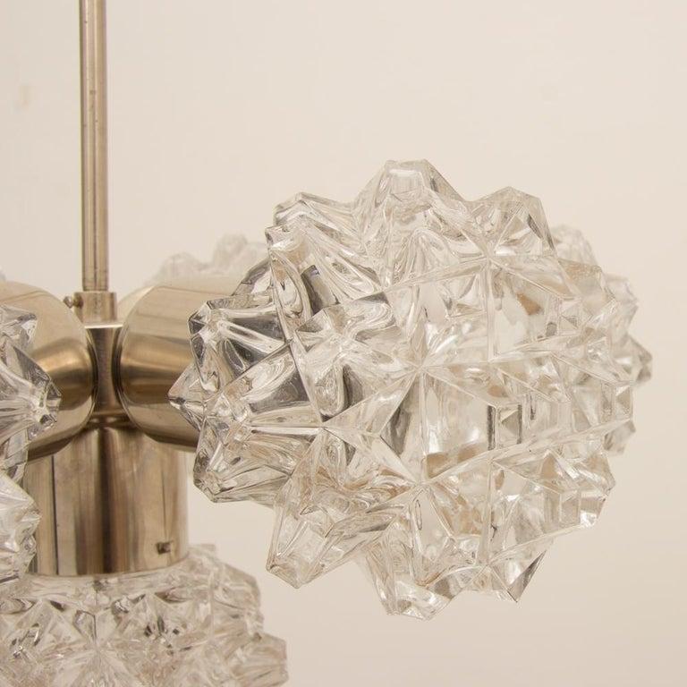 Cut Glass Italian 1970s Brushed Steel Sputnik Light For Sale