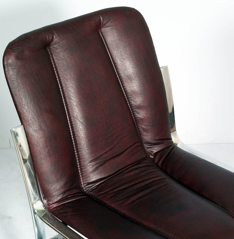 Italian 1970s Chairs Chromed Steel and Soft Leather  Gastone Rinaldi Manner For Sale 1