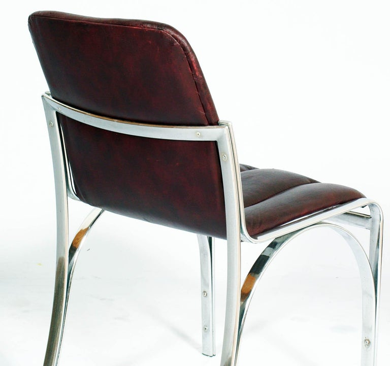 Italian 1970s Chairs Chromed Steel and Soft Leather  Gastone Rinaldi Manner For Sale 2