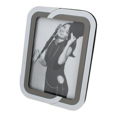 Italian 1970s Chrome and Gunmetal Picture Frame