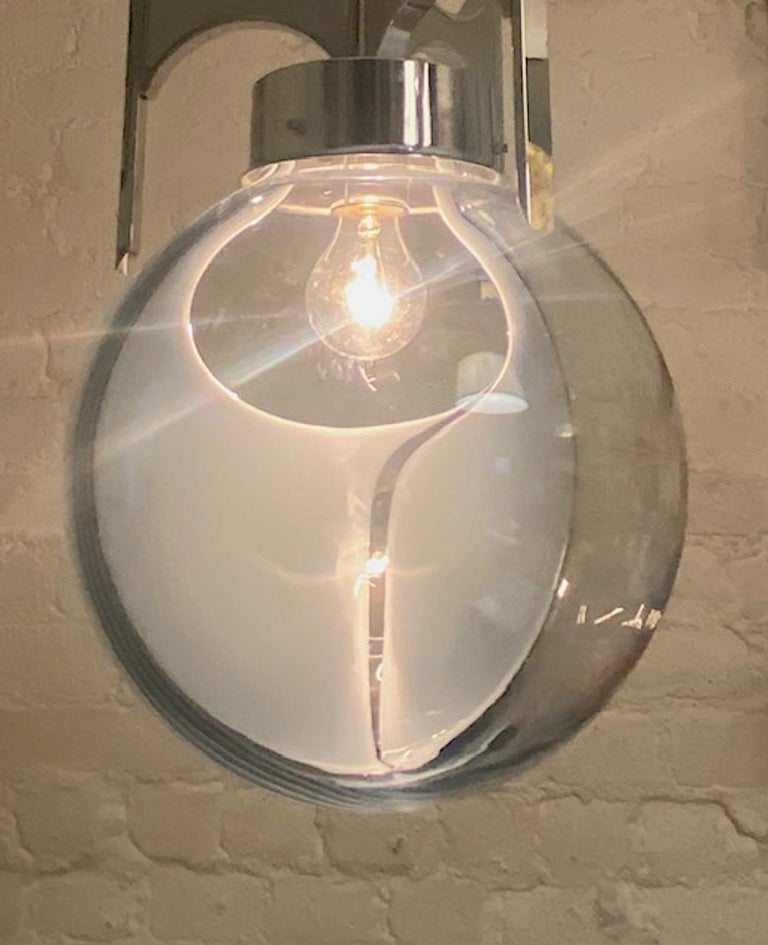 Blown Glass Italian 1970s Chrome with Clear and White Glass Globe Pendant Light For Sale