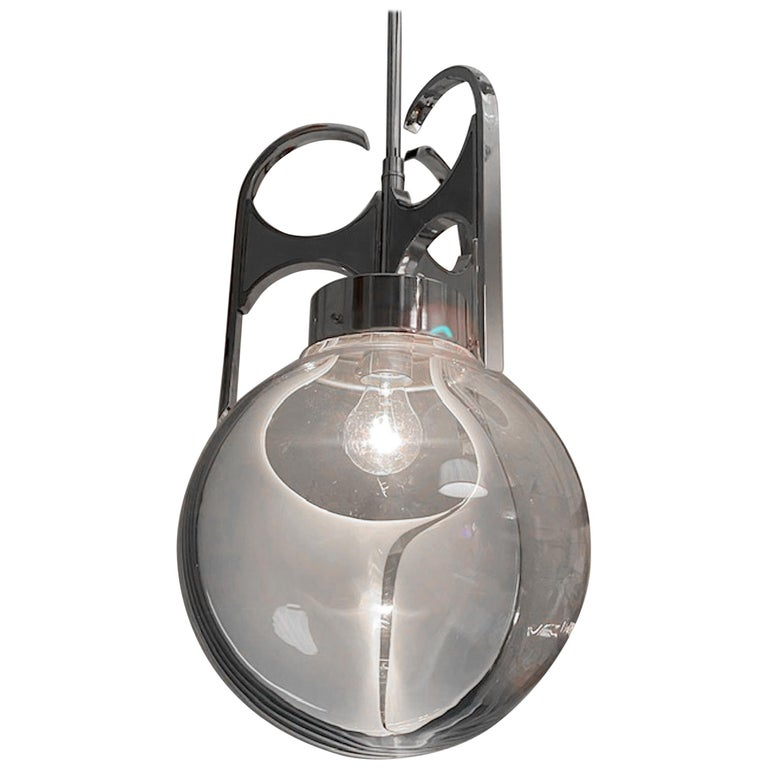Italian 1970s Chrome with Clear and White Glass Globe Pendant Light For Sale