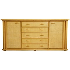 Italian 1970s Design Braided Rattan and Wooden Sideboard