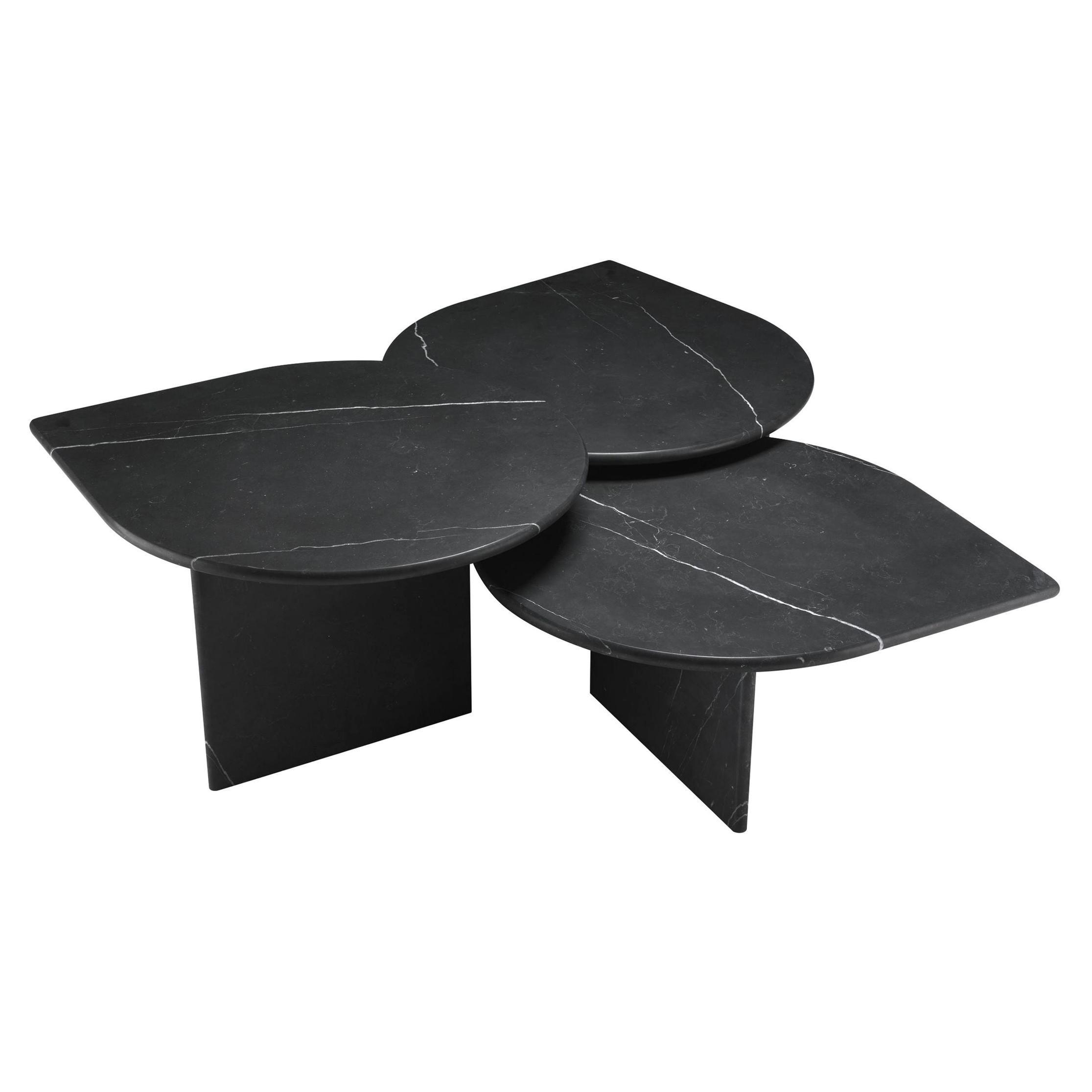 Italian 1970s Design Style Black Marble Set of Three Nesting Coffee Tables