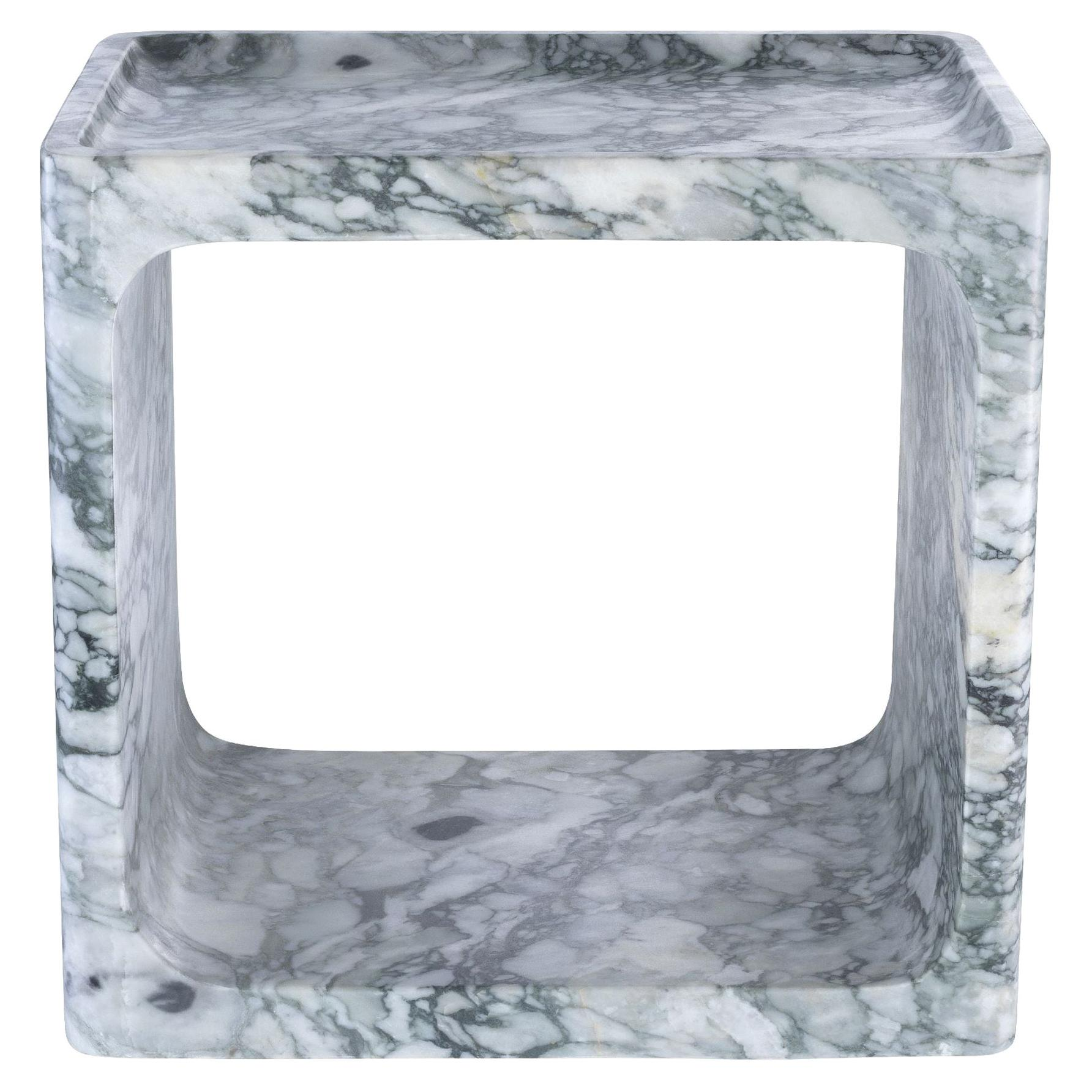 Italian 1970s Design Style White Marble Square Side Table