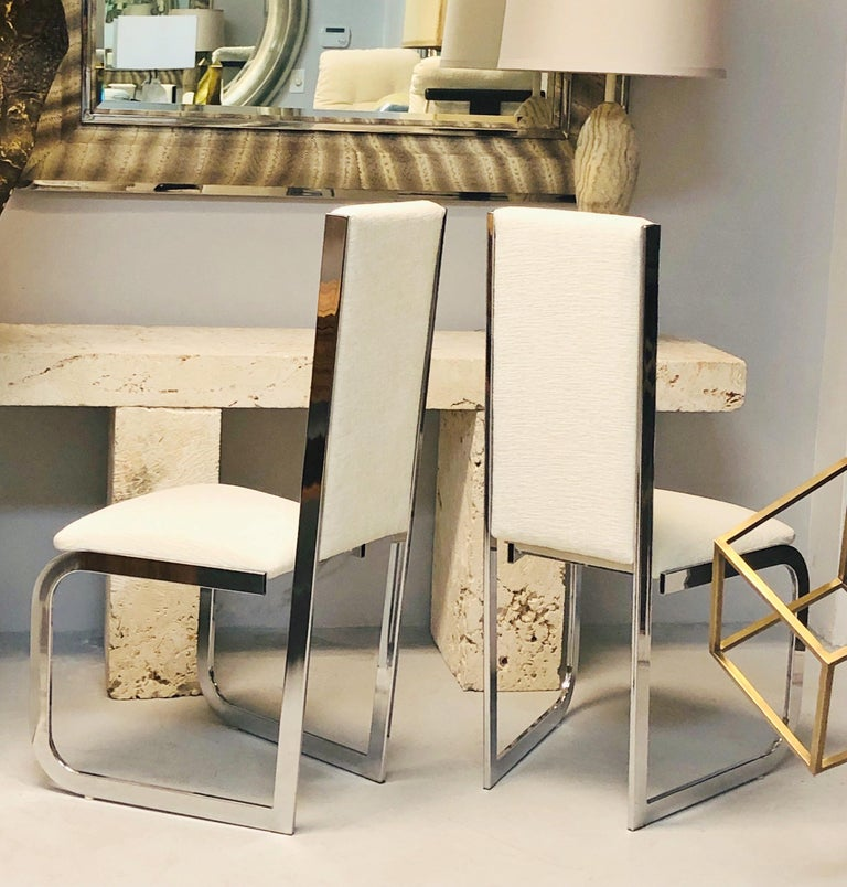 Plated Italian 1970s Dining Chairs with Nickel Frames, Set of 6 For Sale