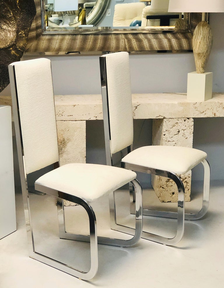 Italian 1970s Dining Chairs with Nickel Frames, Set of 6 In Good Condition For Sale In Miami, FL