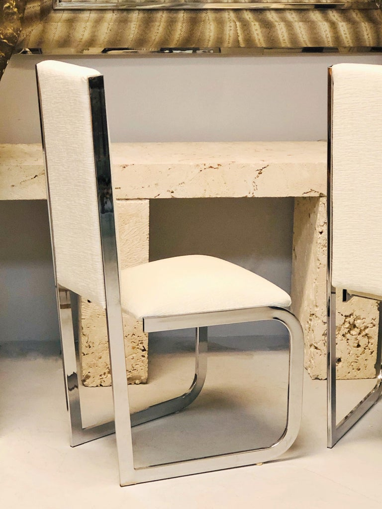 Late 20th Century Italian 1970s Dining Chairs with Nickel Frames, Set of 6 For Sale
