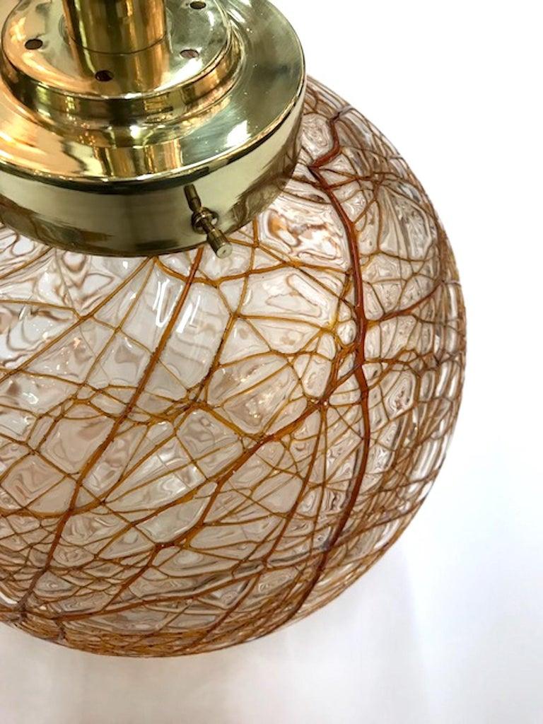 Mid-Century Modern Italian 1970s Glass Globe Pendant Light
