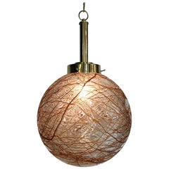 Italian 1970s Glass Globe Pendant Light