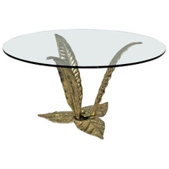 Italian 1970s Glass Top Bronze Leaves Sculptural Coffee Table