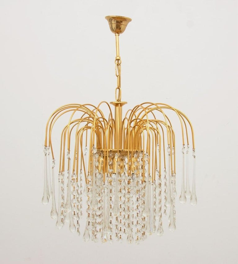 Italian 1970s gold-plated pendant light with tear drop crystals which we have had professionally re wired.