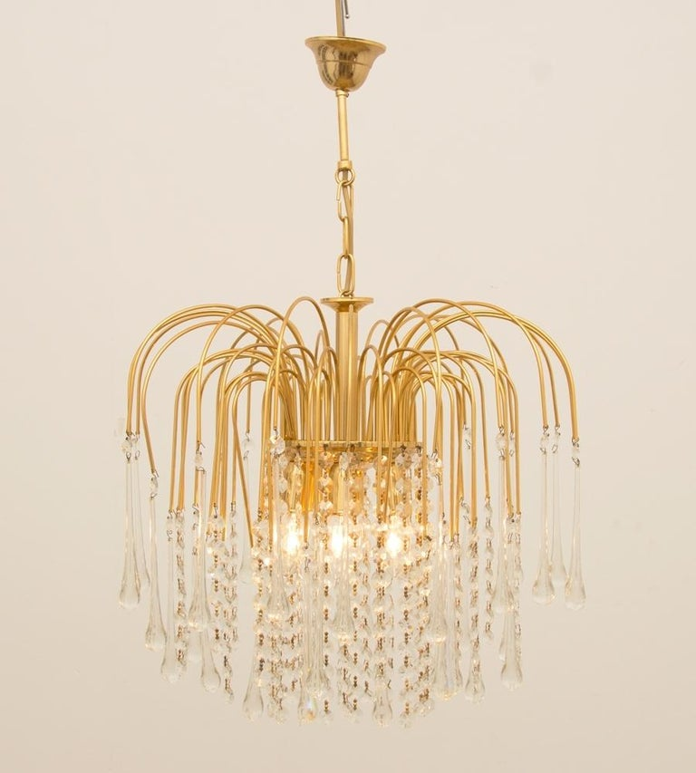 Italian 1970s Gold-Plated Pendant Light In Good Condition For Sale In London, Greenwich