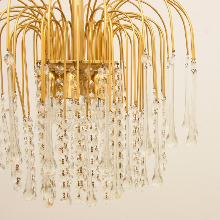 Italian 1970s Gold-Plated Pendant Light For Sale 1