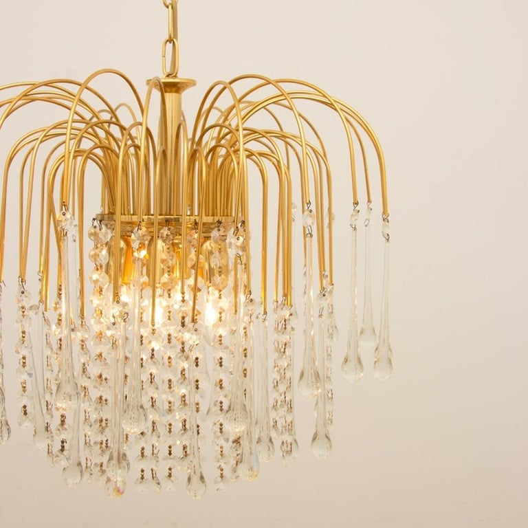 Italian 1970s Gold-Plated Pendant Light For Sale 3