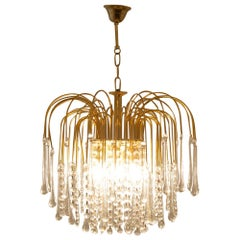 Italian 1970s Gold-Plated Pendant Light