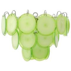 Italian 1970s Green Murano Glass Disc Chandelier