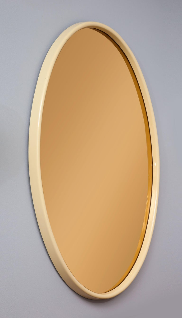 Italian 1970s Lacquered and Rose Gold Glass Oval Mirror For Sale 1