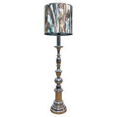 "Italian 1970s Large ""Candlestick"" Style Floor Lamp"