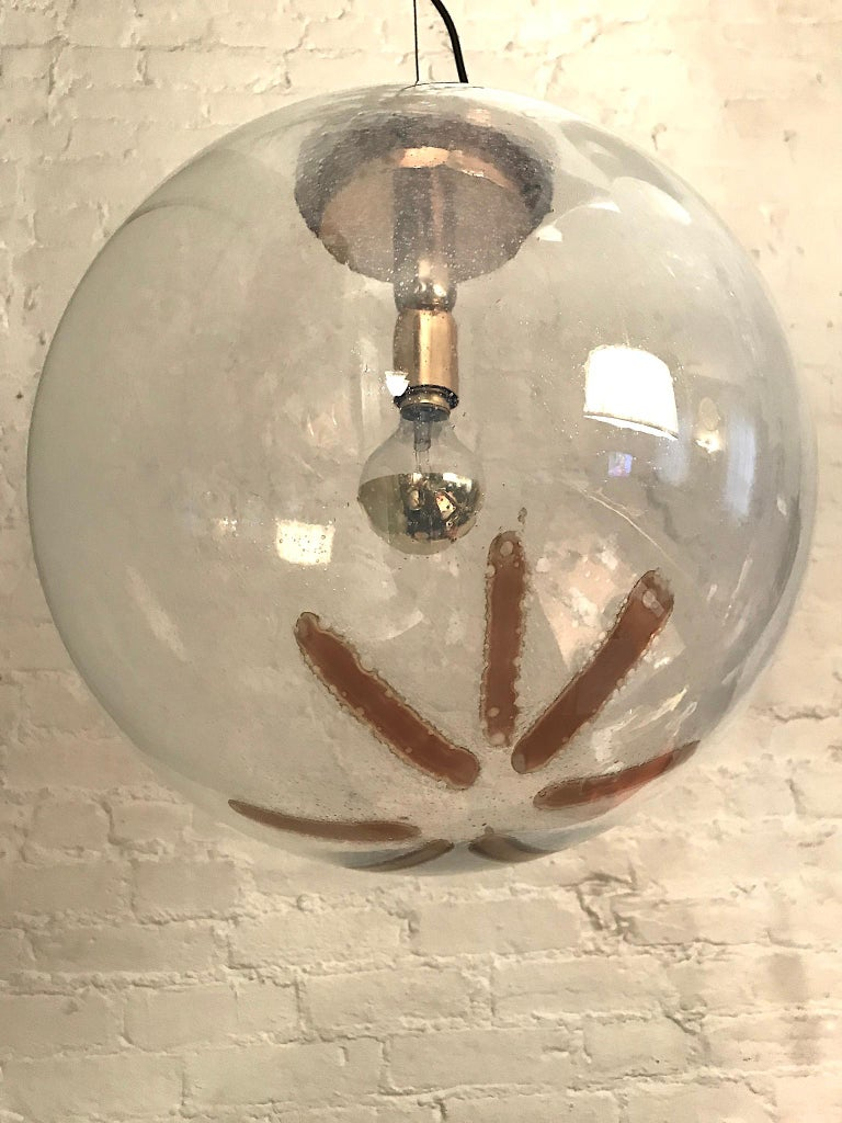Brass Italian 1970s Large Poligoso Globe Pendant Light For Sale