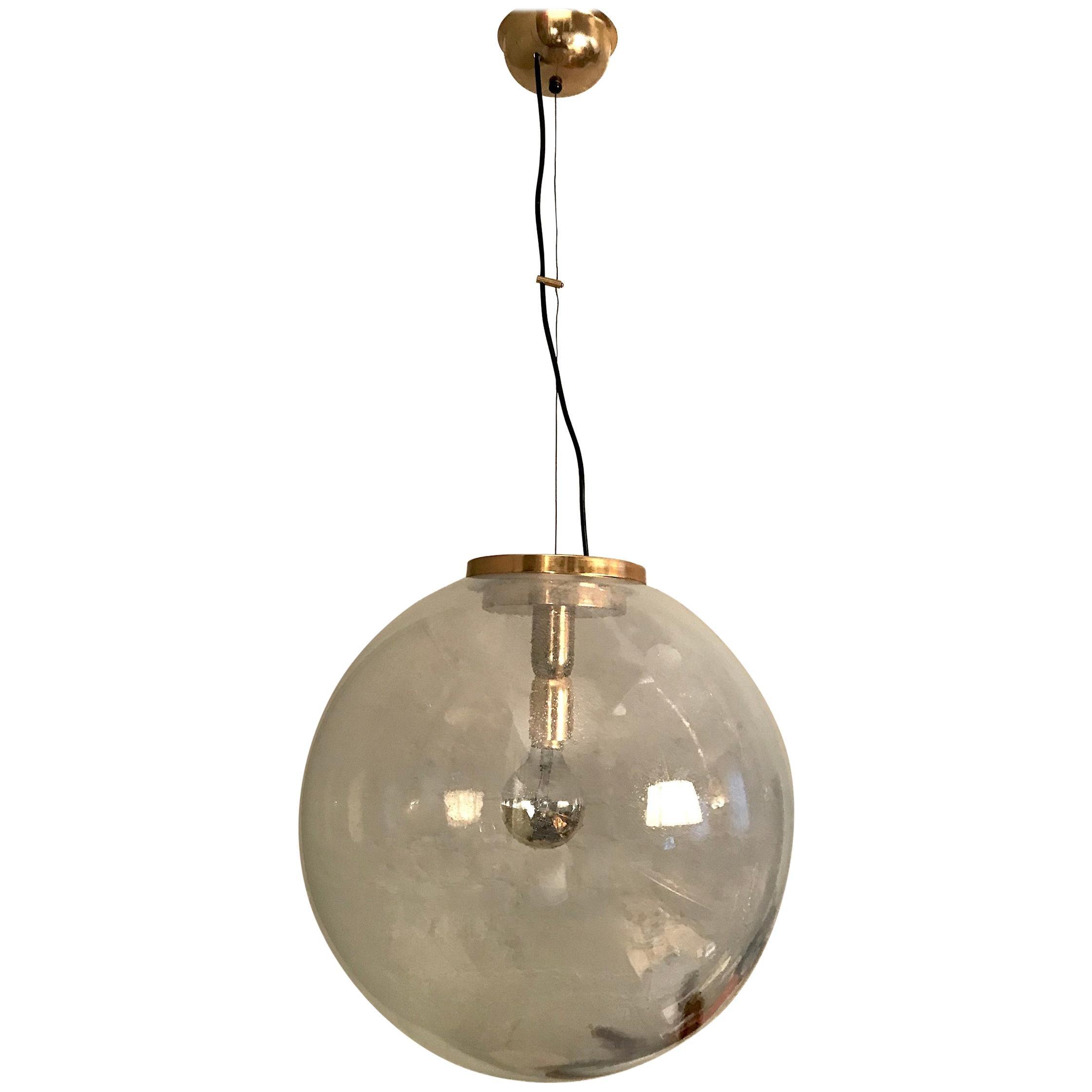 Italian 1970s Large Poligoso Globe Pendant Light