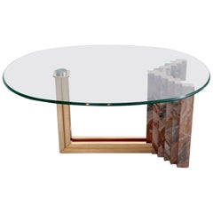 Italian 1970s Marble and Brass Coffee Table Attributed to Italo Valenti