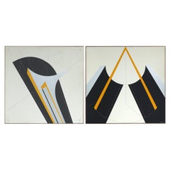 Italian 1970s Abstract Oil Paintings by Lauro Lessio