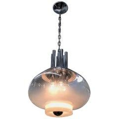 Italian 1970s Modern Blown Glass and Chrome Pendant Light