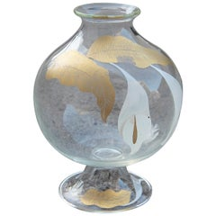 Italian 1970s Murano Glass Vase, Transparent Glass with Calle Leaves and Flowers