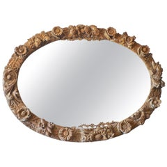 Italian 1970s Oversized Hand Carved Oval Wood Mirror Frame with Original Glass