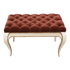 Italian Painted Louis XV Style Tufted Bench