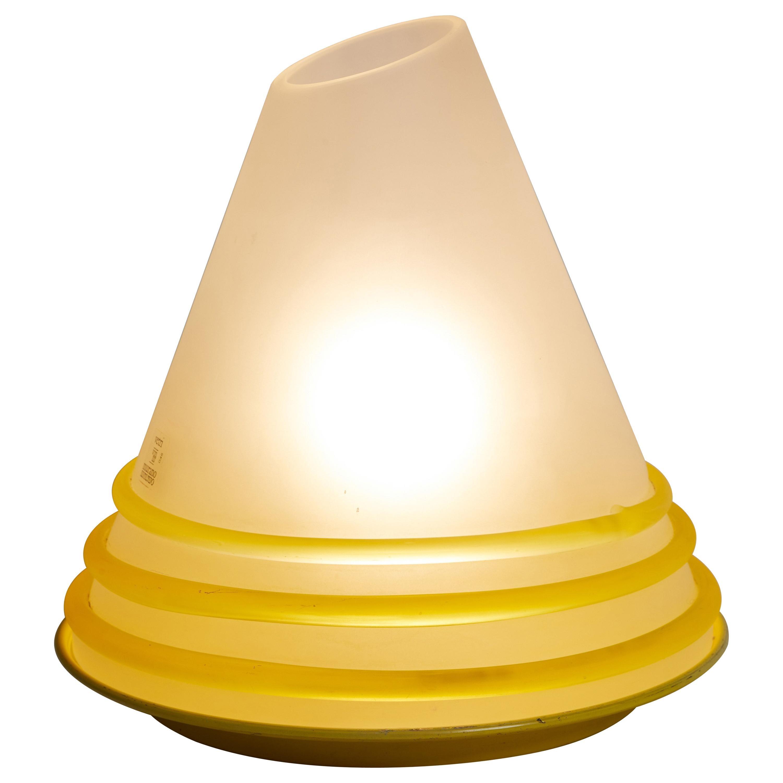 Italian 1970s Pair of White & Yellow Vetri Murano Glass Lamps