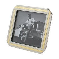 Italian 1970s Picture Frame Geometric Chrome and Brass