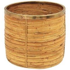 Italian 1970s Rattan Bamboo Round Planter with Brass Rim