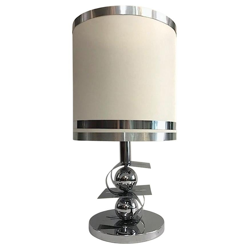 Italian 1970s Sculptural Chrome Table Lamp