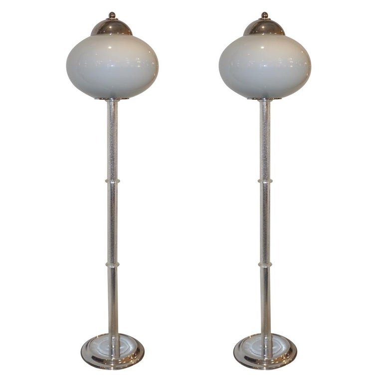 A pair is available - Elegant vintage organic floor lamp by the Italian Lighting Company I 3, renowned for lighting solutions with high quality of materials and construction combined with an eye for stylish form and function. This refined sensual